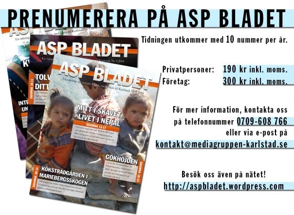 Prenumerera på ASP BLADET